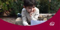 Banner Lezen/schrijven. Ik registreer mijn kind van 6-8 jaar om te corresponderen met een kind van haar/zijn leeftijd.