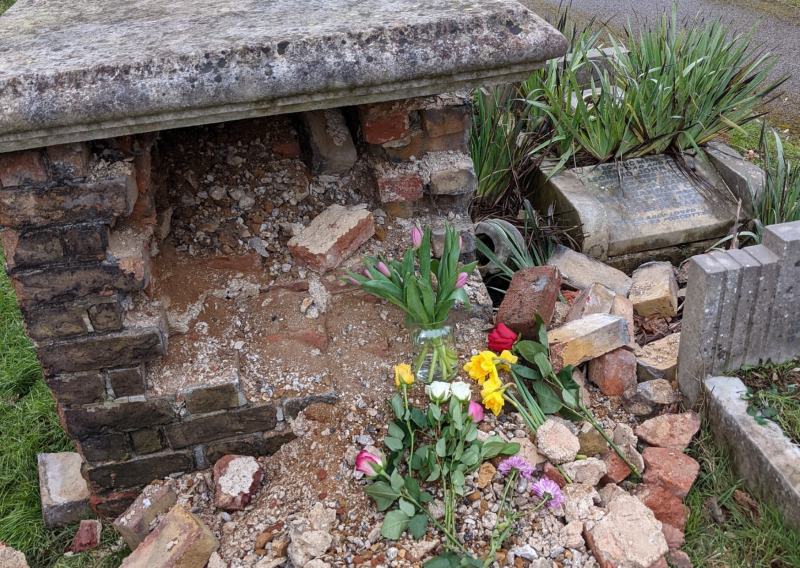 Hero for Vicar tells of community's shock at vandalism in Hendon churchyard