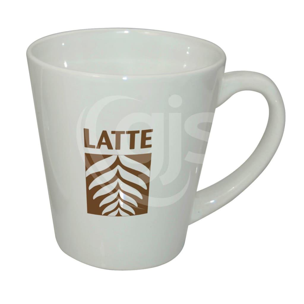 photo about Printable Mugs identified as Ceramic Latte Mug - White