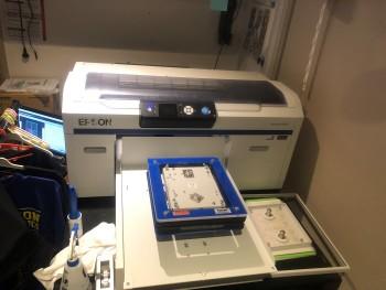 Epson F2000 DTG printer  and Viper XPT-1000  Pre Treat machine