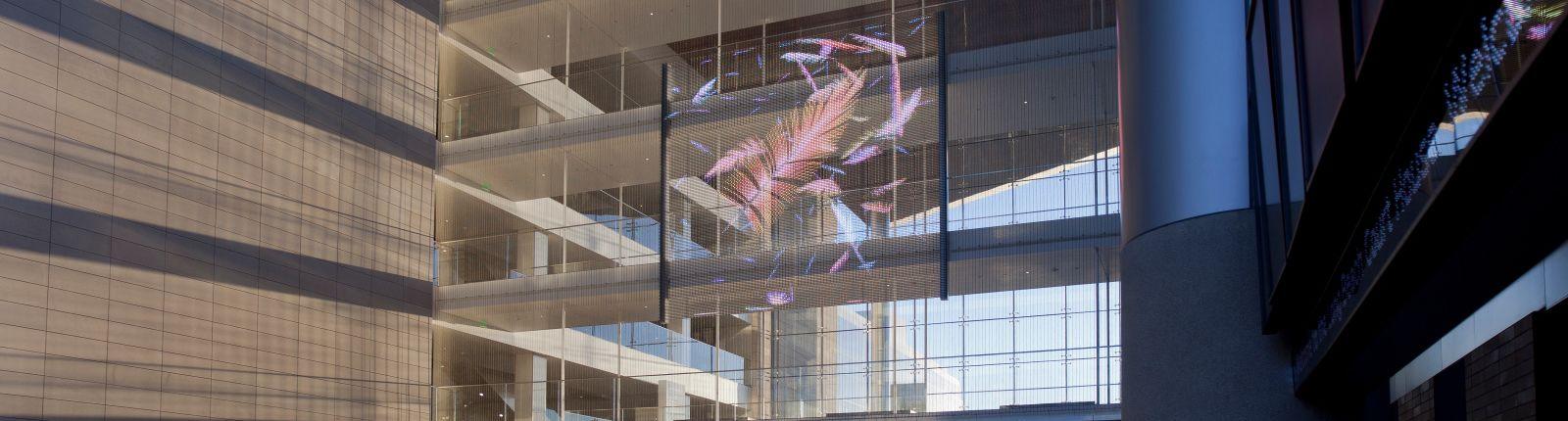 Transparent media façade in the Long Beach Court Building