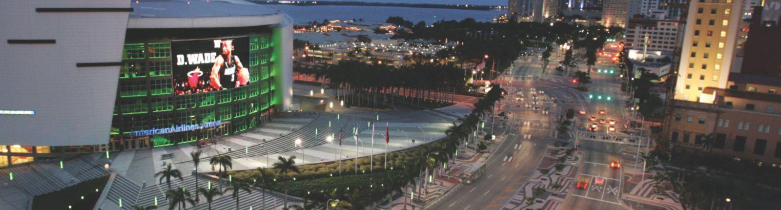 Transparent media façade at the American Airlines Arena in Miami