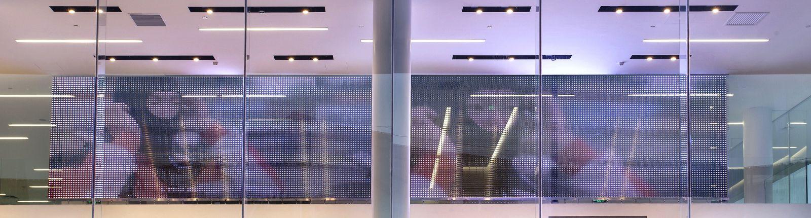 Transparent media façade in the BMW showroom