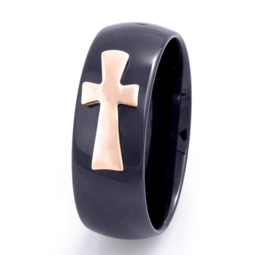Men's Ring Ceramic Cross
