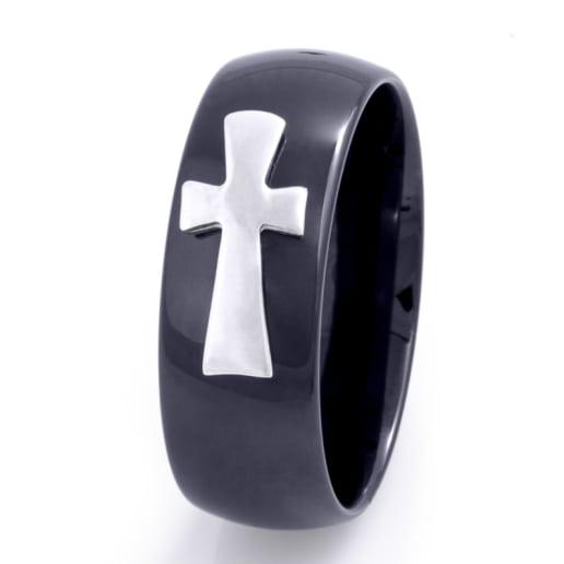 Bague pour hommes Ceramic Cross