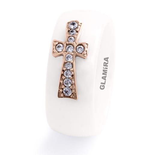 Women's ring Ceramic Cross