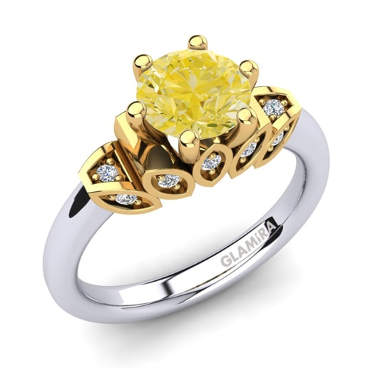 9d43fbdf33ab Compre 585 Oro Blanco   Amarillo - Anillos De Diamante Coloreados ...