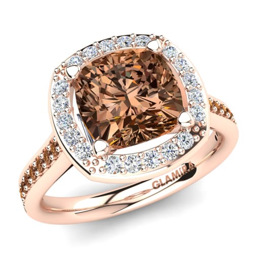 rings antique rose gold diamond engagement brown ring