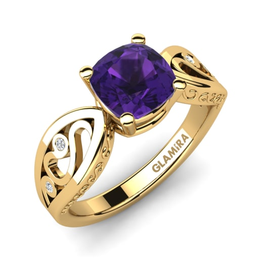 il engagement kwan rose ring solid rings diamond february jewelry gold wedding round fine antique birthstone amethyst