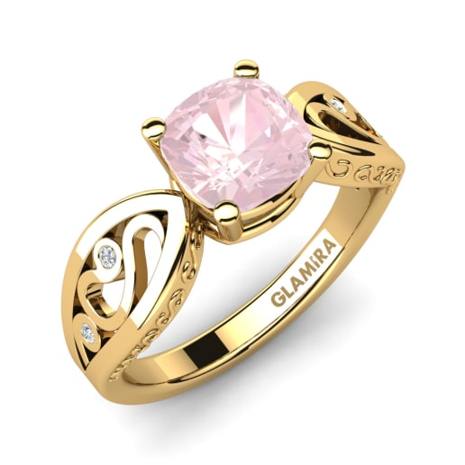 jewelry bridal rose ring quartz diamond gold engagement women pin set rings vintage pear wedding