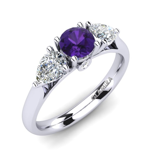 shop shape set engagement silvet rings ring heart center diamond amethyst