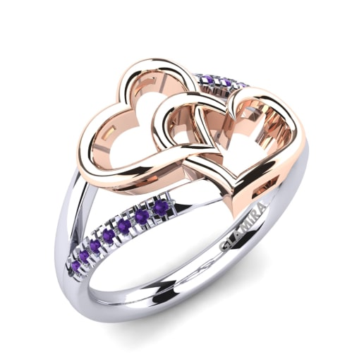 ring engagement simulated stainless amethyst steel three center stone cz amathyst rings