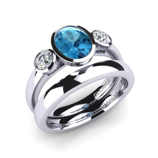glamira bridal set exquisite - Blue Topaz Wedding Rings