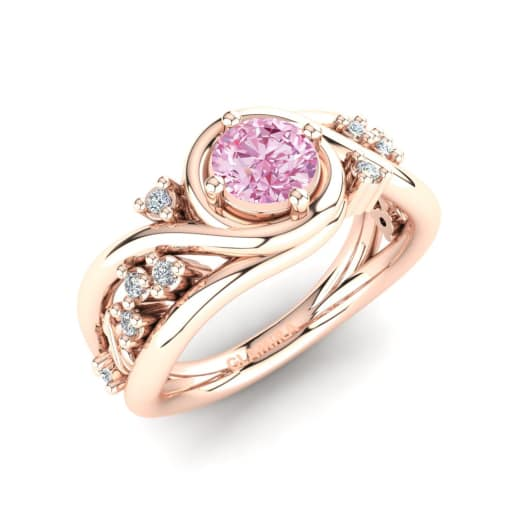 hart diamond ring with coloured collet pink engagement rose gold taylor detail rings
