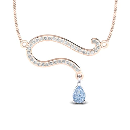 necklace pave pendant fancy blue carat halo white gold diamond handmade
