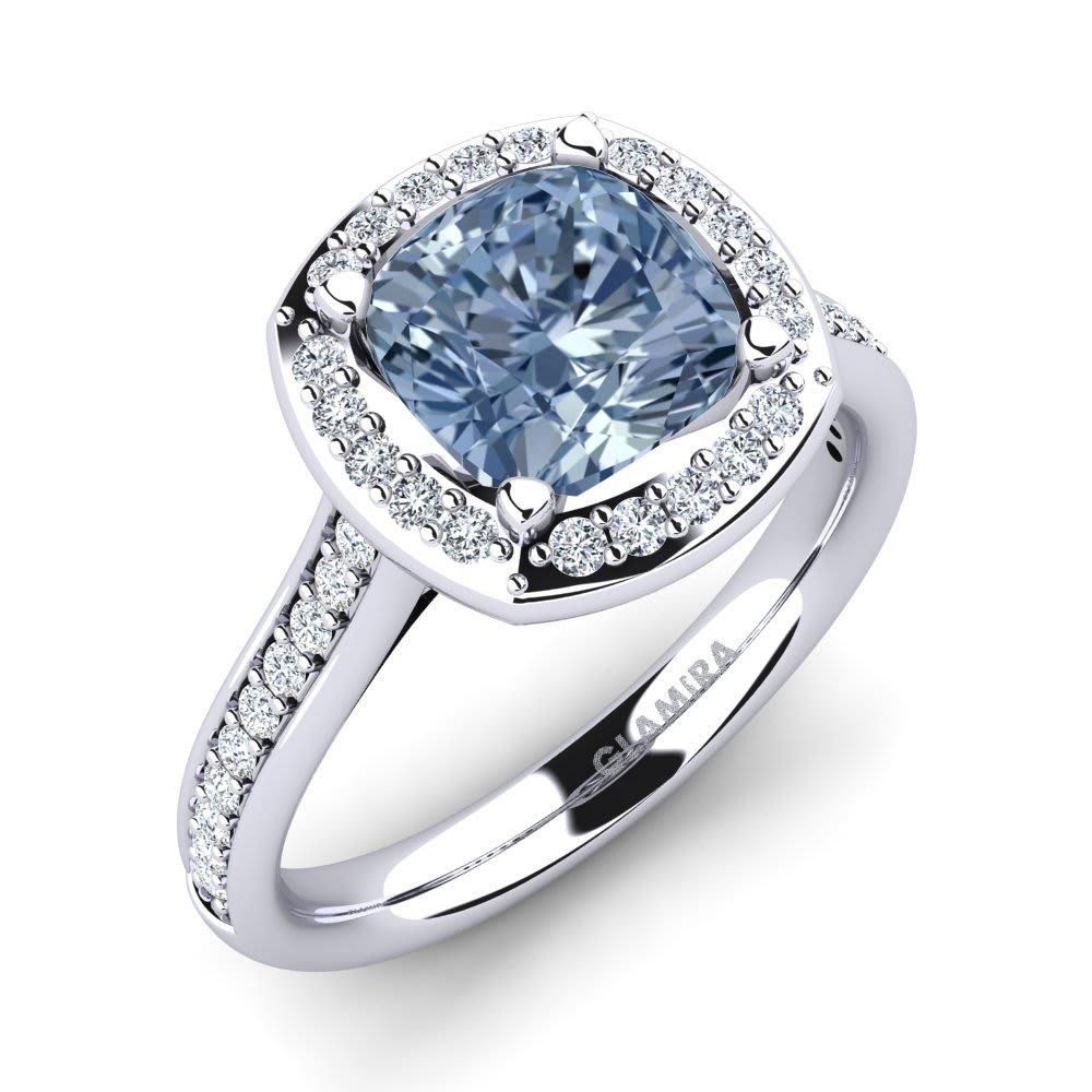 86484dada 585 White Gold Blue Diamond & Diamond Swarovski Crystal