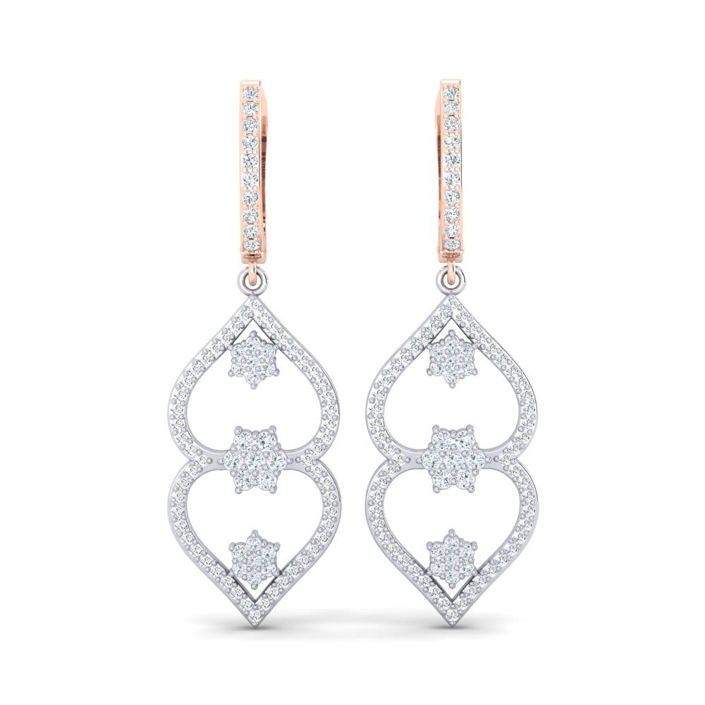The V Collection earrings yellow gold plated white chalcedony pear shape dangling earrings for women and girls