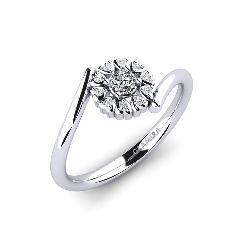 Lady/'s White Gold Finish Over Sterling Silver 3D Square Dome Engagement Ring