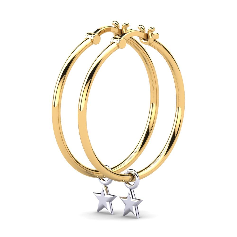 18K Diamante Oro Aro Huggie Pendientes único Caballeros 15 mm 370