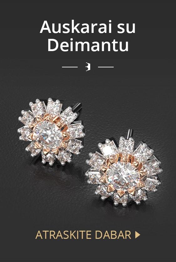 Auskarai su deimantu