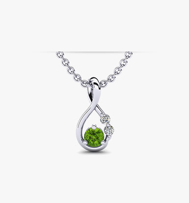 green silver peridot sterling princess necklace stone with celtic dripping