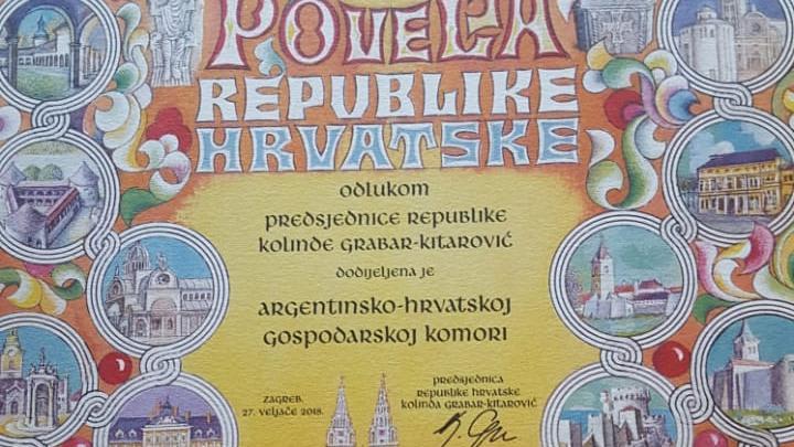Reconocimiento de la presidenta de Croacia Kolinda Grabar Kitarović