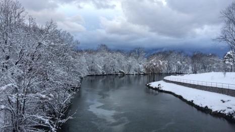 Gospić - der Fluss Novčica in winterlicher Umgebung