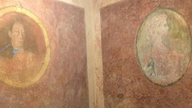 U kući Bukovac detalj zidnik slikarija tehnikom tempere - dar slikara Vlaha Bukovca ocu