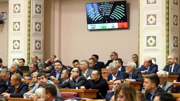 Votación sobre la Comisión de Investigación para Agrokor en el Parlamento. (Foto: Robert Anic/PIXSELL)