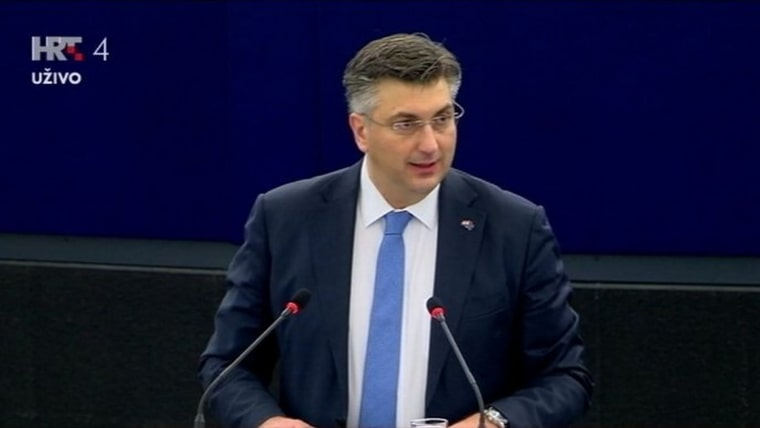 Croatian Prime Minister Andrej Plenković in Strasbourg (Screenshot: HRT)
