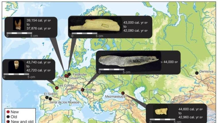 Prikaz karte nelazišta ''kasnih'' neandertalaca. (Foto: Facebook)