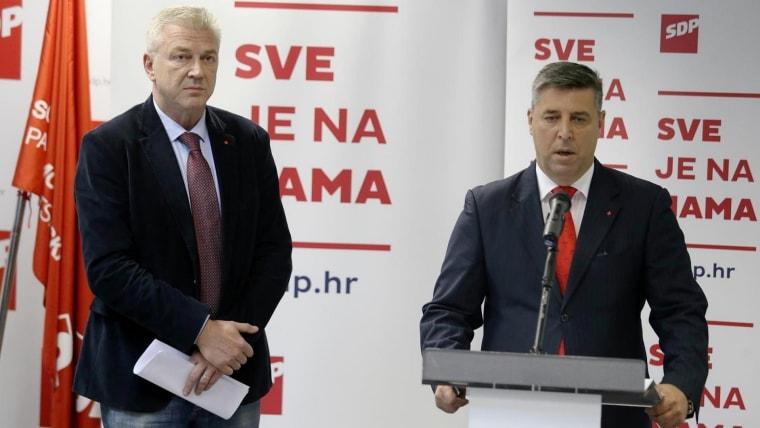 Ranko Ostojić y Franko Vidović del SDP (Foto: Dalibor Urukalovic/PIXSELL)
