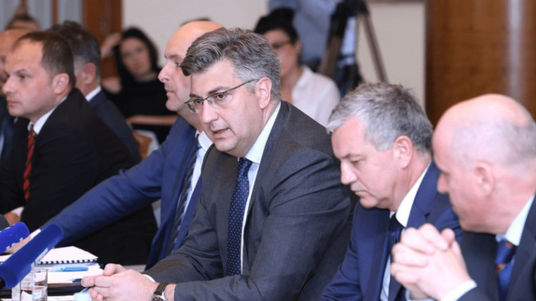 Prime Minister Andrej Plenković flanked by nominees Tomislav Tolušić and Darko Horvat (Photo: Patrik Macek/PIXSELL)