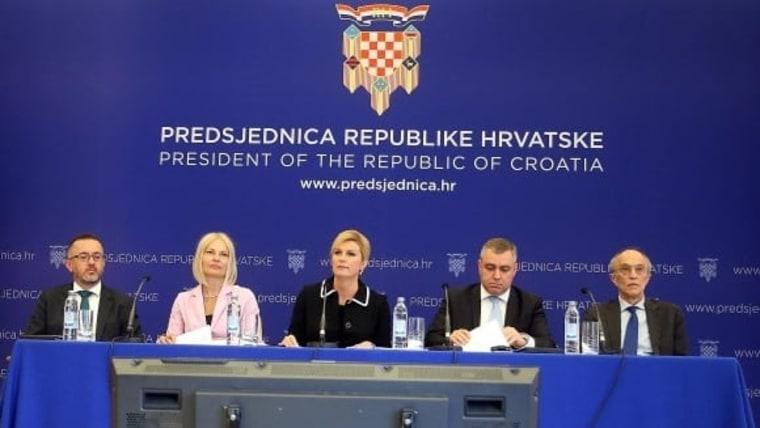 President Kolinda Grabar-Kitarović and her team at Monday's press conference. (Photo: Goran Stanzl/PIXSELL)
