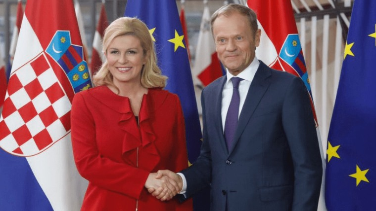 President Kolinda Grabar-Kitarović and the President of the EC Donald Tusk. (Photo: Twitter)