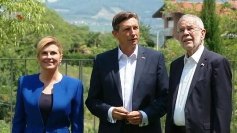 President Kolinda Grabar-Kitarović, Slovenian President Borut Pahor, and Austrian President Alexander van der Bellen (Photo: HRT)