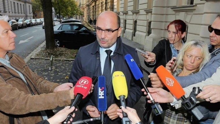 Milijan Brkić speaks to reporters in front of the State Prosecutor's Office (Photo: Tomislav Miletic/PIXSELL)