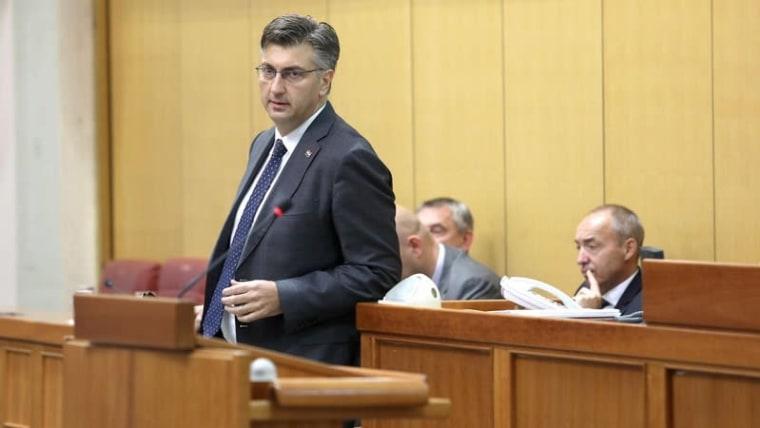 Prime Minister Andrej Plenković delivers his annual report (Patrik Macek/PIXSELL)