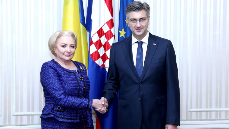 Prime Minister Andrej Plenković meeting with Romanian Prime Minister Vasilica Viorica Dancila. (Photo: Patrik Macek/PIXSELL)