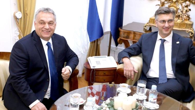 Croatian and Hungarian Prime Ministers Andrej Penković and Viktor Orban (Photo: Patrik Macek/PIXSELL)