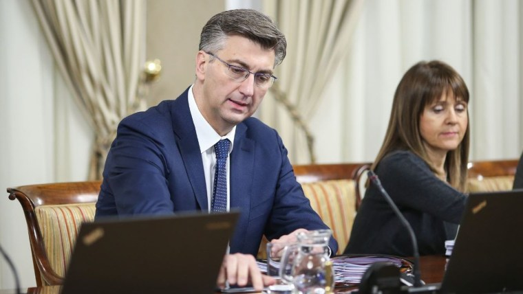 Prime Minister Andrej Plenković at today's government cabinet session. (Photo: Luka Stanzl/PIXSELL)