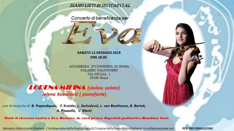 Plakat za humanitarni koncert. (Foto: Udruga Hrvatsko-talijanski mozaik Rim)