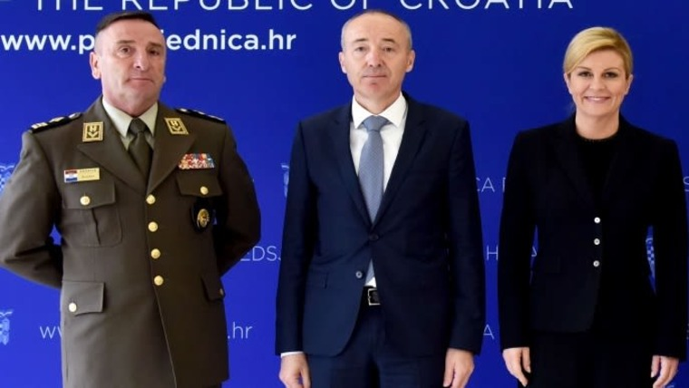 Croatian Armed Forces Chief of General Staff General Mirko Šundov, Minister of Defence Damir Krstičević and President Kolinda Grabar-Kitarović (Photo: HRT)