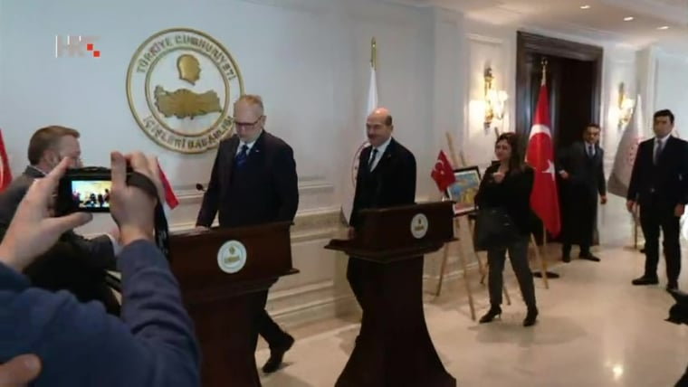 Croatian Interior Minister Davor Božinović (L) Turkish Interior Minister Suleyman Soylu (R) (Screenshot: HRT)
