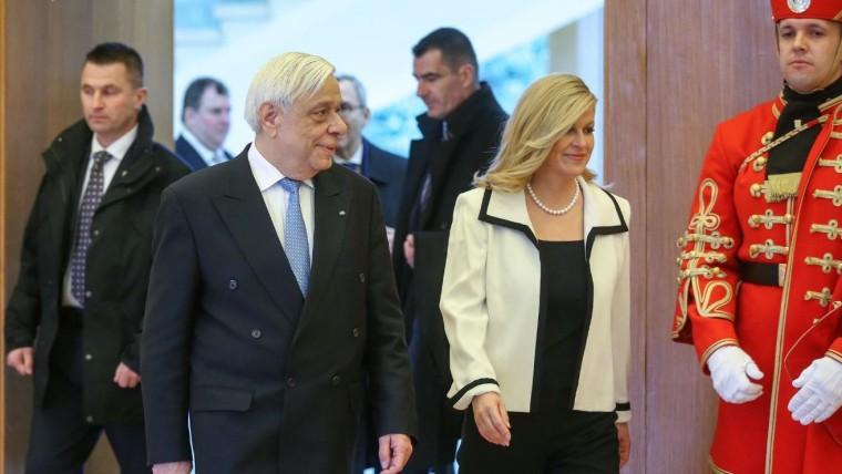 Greek President Prokopios Pavlopulos and Croatian President Kolinda Grabar-Kitarović. (Photo: Luka Stanzl/PIXSELL)