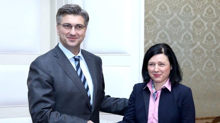 Andrej Plenković and Vera Jourova (Photo: Patrik Macek/PIXSELL)