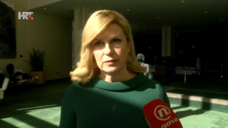 Presidenta Kolinda Grabar Kitarović en la ONU (Foto: HRT)