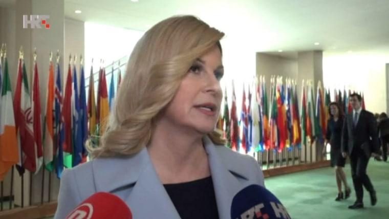 Kolinda Grabar Kitarović en la ONU (Foto: HRT)