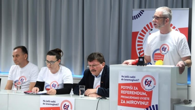 Trade union federation leaders announce plans for a referendum on the retirement age (Marko Lukunic/PIXSELL)