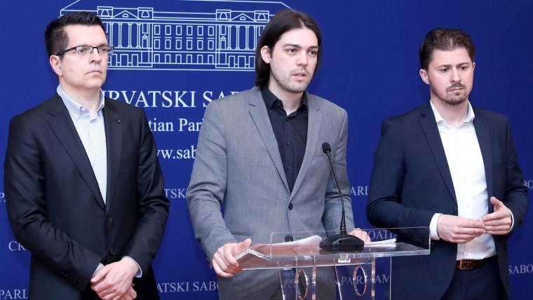 Senior Živi Zid Party officials in Croatian Parliament (Photo: Patrik Macek/PIXSELL)